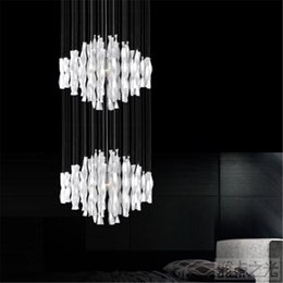 Wholesale Large Modern Pendant Chandelier - Hybrid-type stair large chandelier Modern glass pendant light Fashion brief lighting fixture Dining room Compound droplight MD8185