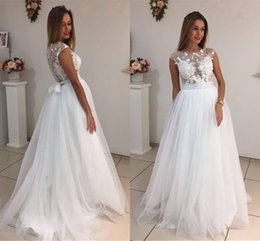 Wholesale Pure Silver Buttons - 2017 Romantic Pure White Cap Sleeves Lace Tulle Wedding Dresses Elegant A Line Appliqued Bridal Gowns with Sash Cheap