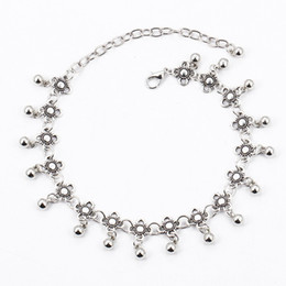 Wholesale Vintage Sterling Chain - Wholesale Retro Sterling Sliver Plated Flower Drops Women Anklets 2017 Summer Beach Vintage Wedding Girls Barefoot Chain Bracelet Jewelry