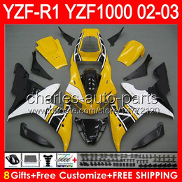 Yamaha r1 carénages jaune en Ligne-8gifts gloss yellow Body Pour YAMAHA YZFR1 02 03 YZF1000 YZF-R1 02-03 92NO158 YZF 1000 YZF-1000 YZF R 1 YZF R1 2002 2003 jaune noir Carénage