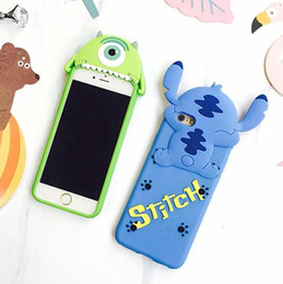 Wholesale Iphone Mike - 3D Stereo Cute Cartoon Big Eye Mike Stitch Bite Soft Silicon Skin For iPhone 6 6S Plus