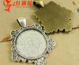 Wholesale Blank Accessories - 30*37MM Fit 20MM Wholesale alloy retro metal jewelry accessories round stamping blank lot, silver pendant base cabochon settings