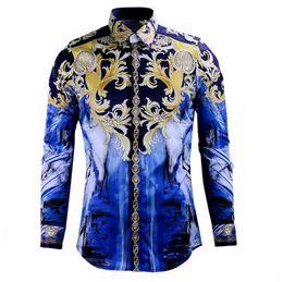 Wholesale Slim Fit Camisas - Fashion Design Printed Men Slim Fit Shirt Chemise Homme Long Sleeve Shirts Casual Camisas Hombre Luxury Brand Mens Dress Shirts