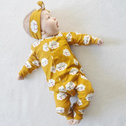 Wholesale New Newborn Unisex Set Clothes - 2017 New Spring Kids Clothing Sets INS Boys Girls Outfits Long Sleeve Smile Cloud Rompers + Headband 2pcs Baby Suits Newborn Pajamas