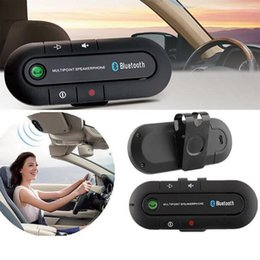 Wholesale Connect Car Speakers - 4 languages Wireless Bluetooth Car Kit Handsfree Speakerphone 10m Speaker Phone Hands Free Car Bluetooth Handsfree Kit connect 2 cell phone