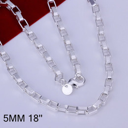 Wholesale Silver Box Chain 2mm - Fashion 925 sterling Silver Box Necklace 2mm 4mm 5mm 18inch fashion Charm Jewelry,new piercing 925 silver 18inch necklace for women men