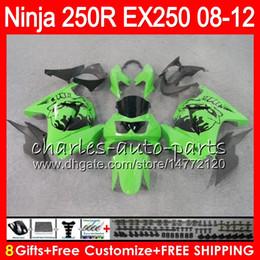 Wholesale Gray Ninja - 8Gifts 23Colors For KAWASAKI NINJA ZX250R 08 09 10 11 12 EX 250 16HM25 green black ZX-250R ZX 250R EX250 2008 2009 2010 2011 2012 Fairing
