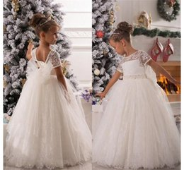 Wholesale cheap pink belt for dress - Vintage Lace Flower Girls Dresses 2016 Cheap Price Sashes Belt Ball Gown Charming First Communion Dress For Girls Custom Made HY1193