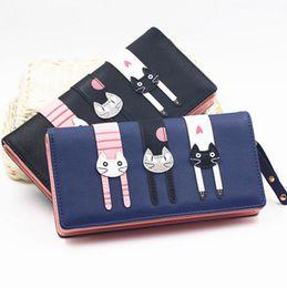 Wholesale Girls Clear Purses - New Fashion Envelope Women Wallet Cat Cartoon Wallet Long Creative Female Card Holder PU wallet coin purses Girls
