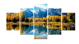 Wholesale lake landscapes paintings - 5pcs set Unframed The Hill and Lake Landscape Print On Canvas Wall Art Picture For Home and Living Room Decor