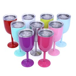 Wholesale Crystal Wine Flutes - 29sb With Lid Wine Glass Cups Stainless Steel Goblet 400ml Mug Double Walled Car Tumbler Thermal Insulation Margarita Cup Colorful R