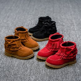 Wholesale Free Fringe - 2017 New Cheapest Girls Fringe Boots Free Shippng Bow Toddler Winter Boots ugs Kids Girls Snow Boots Chaussure Enfant Garcon Hot