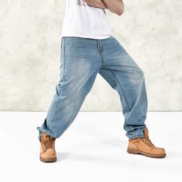 Wholesale Denim Fat Pants - Wholesale- 2016 Hip Hop Men Fat Jeans Baggy Skateboard Denim Pants Plus Size