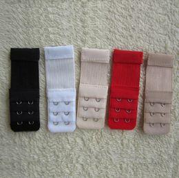 Wholesale Black Bra Extenders - Ladies elastic 2 Hooks Bra Strap Extender clip perfect ADJUSTABLE BELT buckle white black red etc