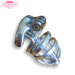 Wholesale Steel Locking Bondage - 2017 New male chastity Stainless steel penis lock cheap BDSM toys adult chastity cage With Curve Cock Ring BDSM Sex Toys Bondage Chastity