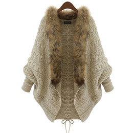 Wholesale Bat Woman Cape - Wholesale-Women Cardigan Wool Sweater Thick Poncho Capes Femme Autumn Winter Bat Sleeve Fur Collar Knitted Long Cardigan Trench 50