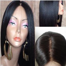 Wholesale Light Yaki Full Lace Wigs - Light Yaki Lace Front Wigs Silk Top Italian Yaki Brazilian Virgin Hair Wigs Glueless Remy Yaki Straight Full Lace Wigs