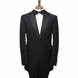 Wholesale One Button Tuxedos - Men suits wool blended notch shawl groom suits tuxedos men black one button formal business wear suits (jacket+pants)