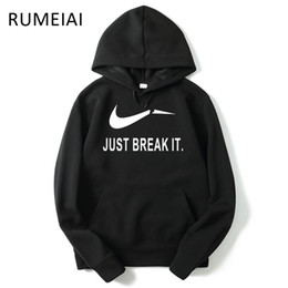 Wholesale Mens Wholesale Hoodie - Wholesale- Skateboard JUST BREAK IT Hip-Hop Sweatshirt Men Hoodies Fashion Solid Fleece Hoodie Mens Suit Pullover Men's Tracksuits Moleton