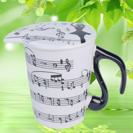 Wholesale Music Musicians - Creative Ceramic Musician Coffee Milk Juice Lemon Mugs Tea Cups with Lid Music Notes Creative Gift