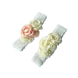 Wholesale Roses For Headbands - Pearl Hair Flowers Lace Headband With Rose Baby Headband Kid Head bands For Girl Hair Acessories