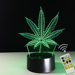 Wholesale Leaf Led Lamp - Novelty Decorative 3D Leaf Night Light LED 7 Colors Change Touch Remote Control Bedside Table Lamp Acrylic Night Light