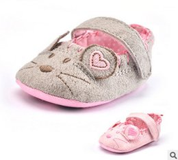 Wholesale Mouse Boys - Baby shoes babies Boys mouse embroidery comfortable Prewalker 2017 autumn new toddler kids love heart non-slip soft bottom shoes T3875