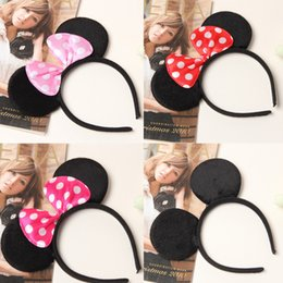 Wholesale Color Sticks For Hair - Hot baby headband COSPLAY Mickey Minnie mouse ears Hairdband Hair accessories for Party Children free shipping