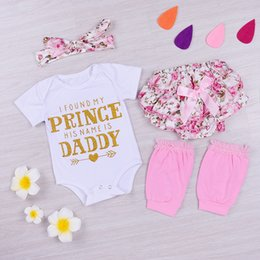 Wholesale Baby Warmer Tutus - 4PCS Cute Summer Baby Girls Clothes Outfit Kids Sequin Jumpsuit Rompers+Floral Tutu Short Pants+Head wear+Lace Leg Warmer Sweet Clothing