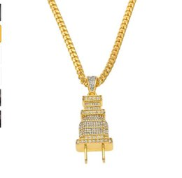 Wholesale 24k Gold Pendants Charms - big promotion + 24K gold plated Pendant Necklace Gold Silver Color Charm Micro Pave Full Rhinestone men plug hip hop punk jewerly
