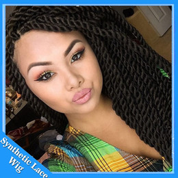 Wholesale Thick Lace Front - Hot Selling High Density Braided Lace Front Wigs Box Synthetic Fiber Wigs Thick Full Hand Twist Synthetic Hair Micro Havana Twist Wigs