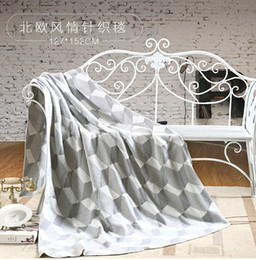 Wholesale Luxury Blankets Free Shipping - Free Shipping 127cm*152cm Knitted Luxury soft blanket throw Bedspread Sofa Travel Blanket Crocheted Yarn Dyed Geometric Jacquard High End