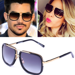 Wholesale 2017new men brand designer sunglasses D T mach one titanium sunglasses gold plated vintage retro style square frame UV400 lens original case