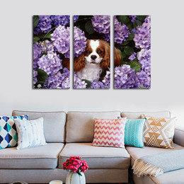 Wholesale Puppy Wall Decor - 3pcs set Unframed Puppy Dog and Purple Flower HD Print On Canvas Wall Art Painting Art Picture For Home Decor