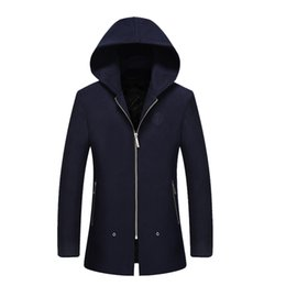 Wholesale Hooded Long Trench Coat Men - Wholesale- Autumn New Hooded Long Trench Coat Men Casual Slim Quality Spring Autumn Manteau Homme