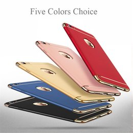 Wholesale Case Cover Silver - Ultra Thin Full Protection Electroplated 3 in 1 Case Hard PC Cell Phone Back Cover for iPhone 6 6s 7 8 Plus Samsung galaxy S8 note 8