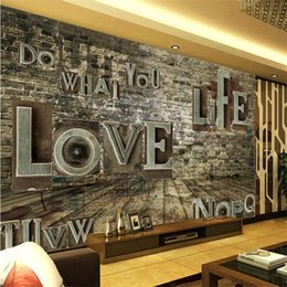 Wholesale Korean Costumes For Kids - The style of the European style retro old brick wall character creative love wallpaper large mural coffee restaurant costume wallpaper