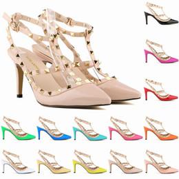 Wholesale Dance Shoes Sandals - 2017 Designer Women High Heels Rivets Girls Sexy Pointed Dance Shoes Wedding Shoes Double Straps Sandals Party Fashion