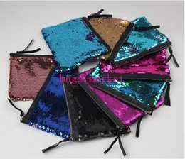 Wholesale Glitter Coin Purses Wholesale - 2017 new Sequins Clutch Bag Mermaid Sequin Purse Mermaid Makeup Bags Cosmetic Bag Glitter Sequins Coin Bags Fashion Handbags Designer Pouch