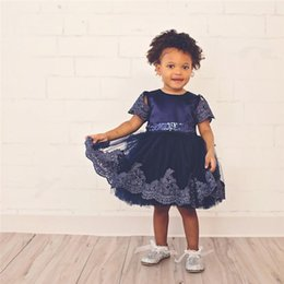 Wholesale Baby Girls Lace Skirt Flower - Pretty Baby Girls Dresses Summer Children Clothing Sexy Child Princess Dress Pleated Bow Flower Lace Skirt Kids Clothes
