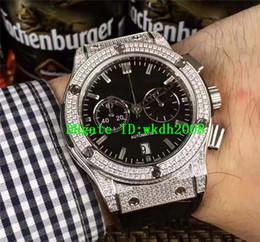 Wholesale Business Classic Wristwatches - Luxury Brand Classic Fusion Diamond Case Quartz Chronograph Business Mens Watch Black Dial leather strap Man Wristwatch