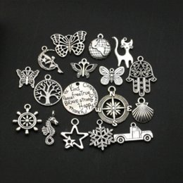 Wholesale Craft Love Gifts - Mixed Antique Silver Plated Anchor Love Compass Cat Angel Butterfly Charms Pendants Jewelry Making Craft Handmade DIY 50styles