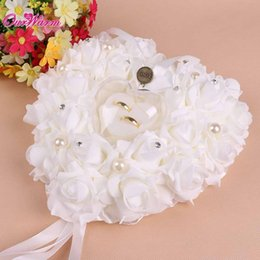 Wholesale Pillow For Wedding Rings - Wholesale- Hanging Wedding Favors Ring Box Rose Rhinestone Heart Design Ring Pillow for wedding Decorations