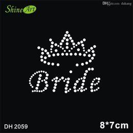 Wholesale Hotfix Rhinestones China - Free shipping China supplier brides crown Rhinestone Hotfix Heat Transfer Motif Design iron on dresses DIY DH2059#