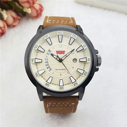Wholesale modern boys - Top Brand luxury men's watches Leather band Quartz wristwatch for men boy male best gift with automatic date Reloj Hombre Wholesale