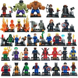Wholesale Deadpool Marvel Heroes - 32Pcs lot Marvel Super Heroes Figures The Avengers Hulk Deadpool Building Blocks Minitoy Model Bricks Gift Toys for Children