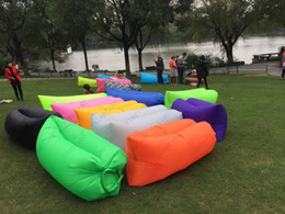 Wholesale Lit Sofa - Super light is suing portable beach lazy lazy a fold inflatable sofa bed sofa air sofa sleeping bag DHL Free shipping