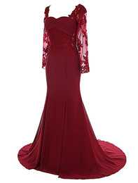 Wholesale Sleeved Chiffon Prom Dresses - Robe De Soiree Manche Longue 2017 Free Shipping Long Sleeved Evening Dresses Mermaid Burgundy Prom Gowns