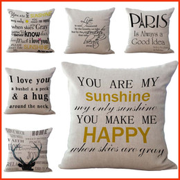 Wholesale Sofas Letter - Inspirational Letter You are My Sunshine I Love You Pillow Case Cushion cover Linen Throw Pillowcases sofa Pillow covers Drop shipping PW449