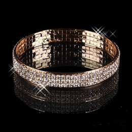 Wholesale Gold Earrings Bling - Luxury Gold Plated Bridal Bracelet Bling Bling 3 Row Rhinestone Arabic Stretch Bangle Women Prom Evening Party Jewelry Bridal Accessories